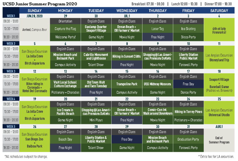 UCSD Summer Junior Program Activity Calendar